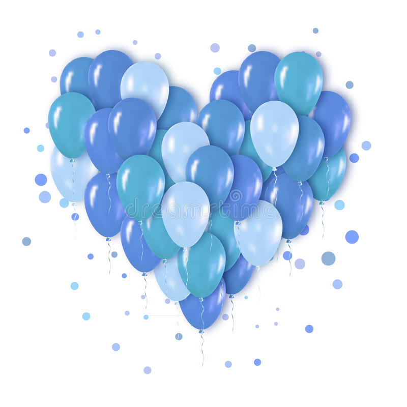 Blue Metallic Realistic 3d Heart Bunch of Balloons royalty free illustration