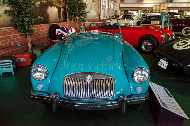 Blue 1958 MGA Roadster stock photo