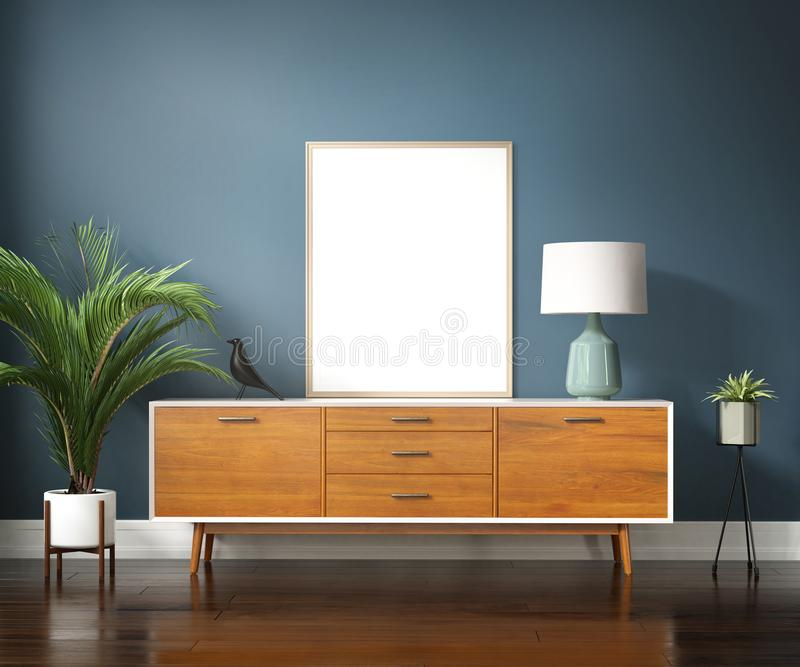 Blue mid century interior with buffet and palm plant. Rendering of a Blue mid century interior with buffet , table lamp and palm plant royalty free stock image