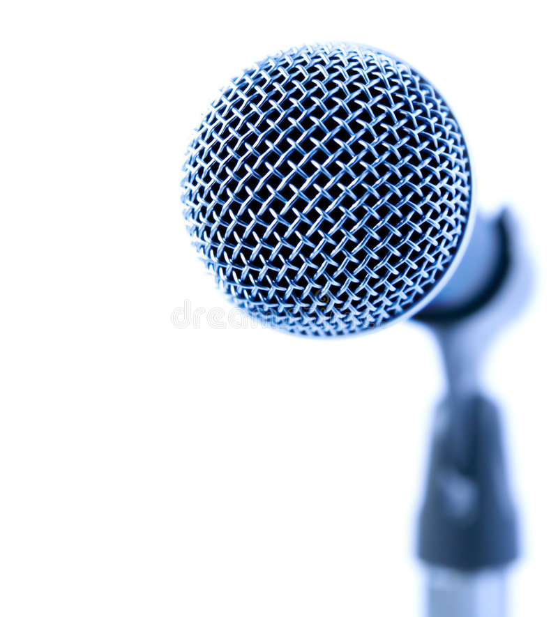 Blue Mike. Professional Microphone Over White Background