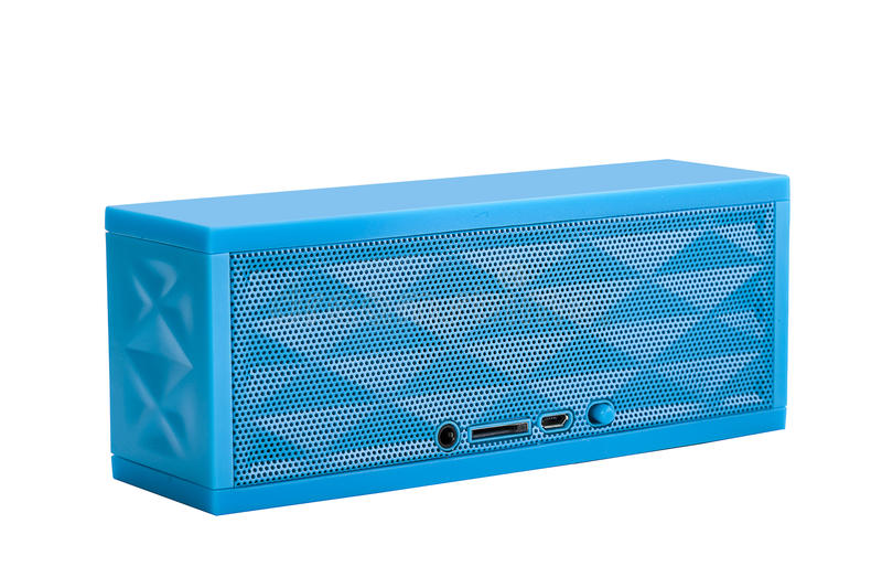Download Blue mini portable speaker stock photo. Image of street - 83700504