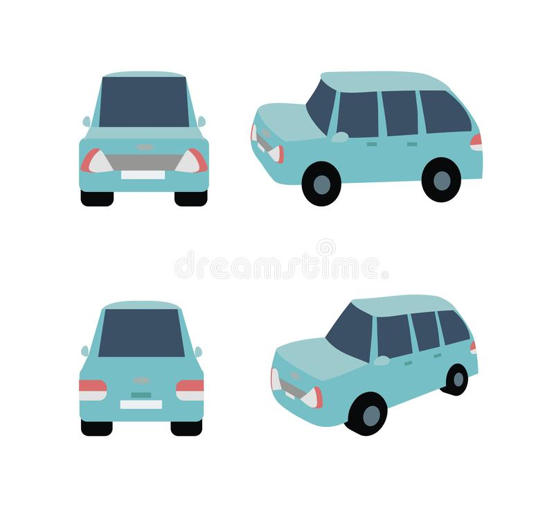 Blue minivan car. Blue minivan in four projections from the front, from the rear, from the side vector illustration