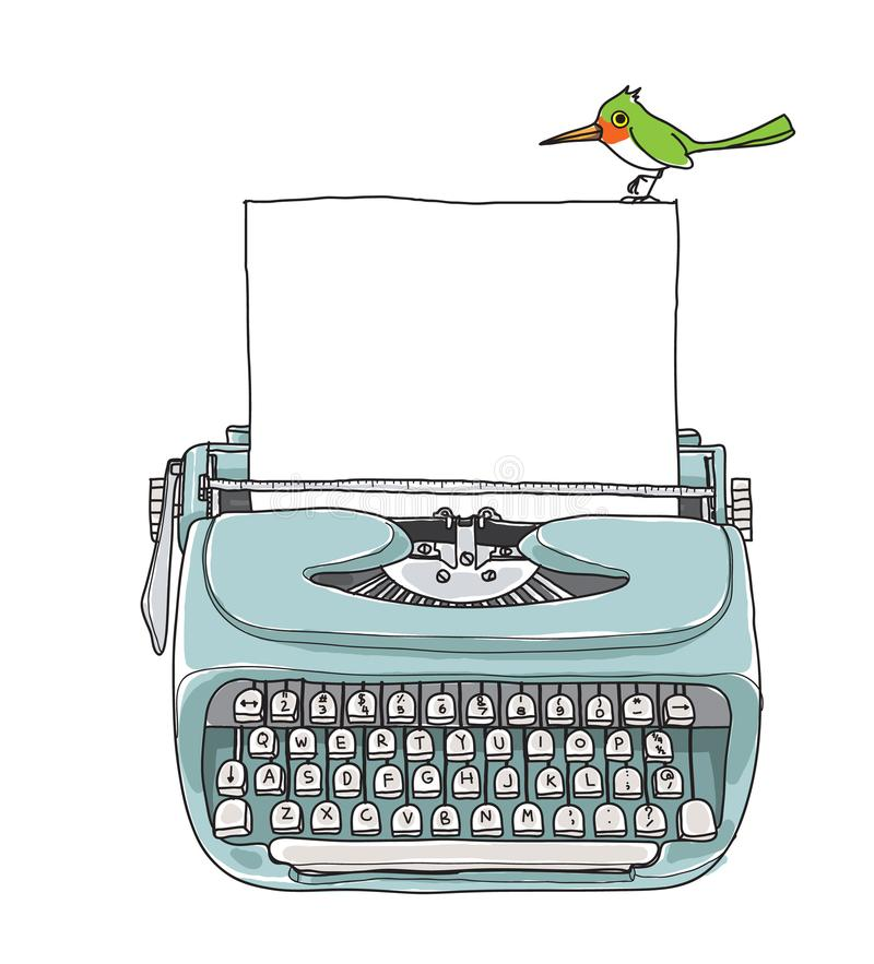 Blue Mint vintage typewriter portable retro with paper. And green bird hand drawn vector art illustration royalty free illustration