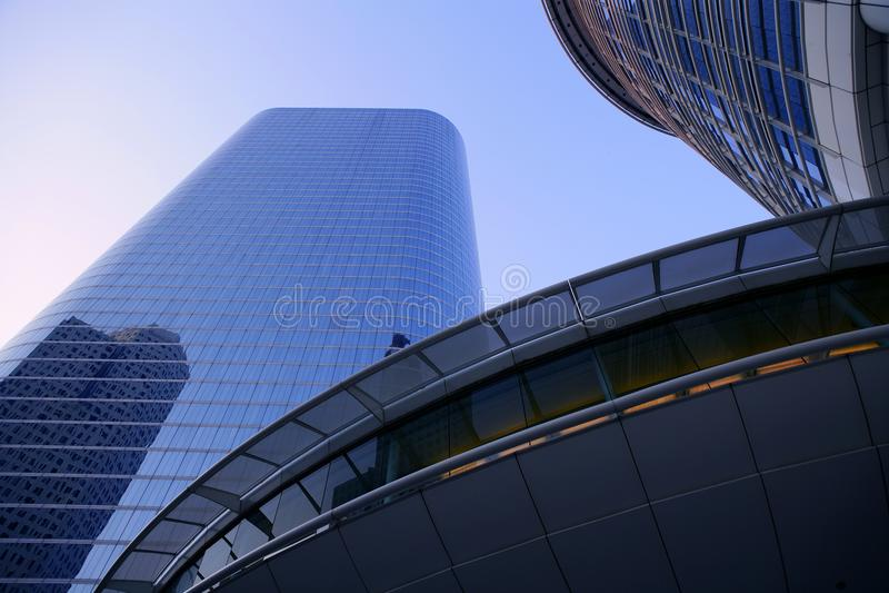 Blue mirror glass facade skyscraper buildings. City of Houston Texas stock images