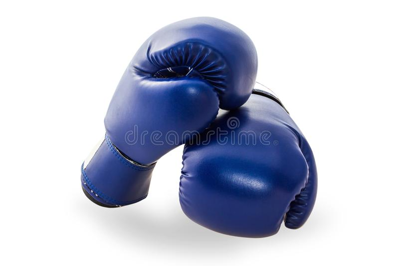 Blue mitt or boxing glove isolated on white background. Blue mitt or boxing glove isolated on white background with clipping path. Boxing glove usually used in stock image