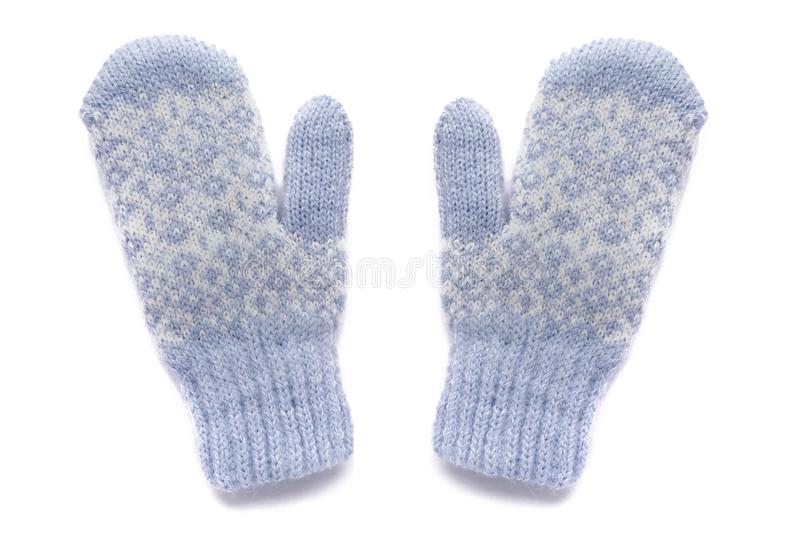 Blue mittens, isolated stock photo