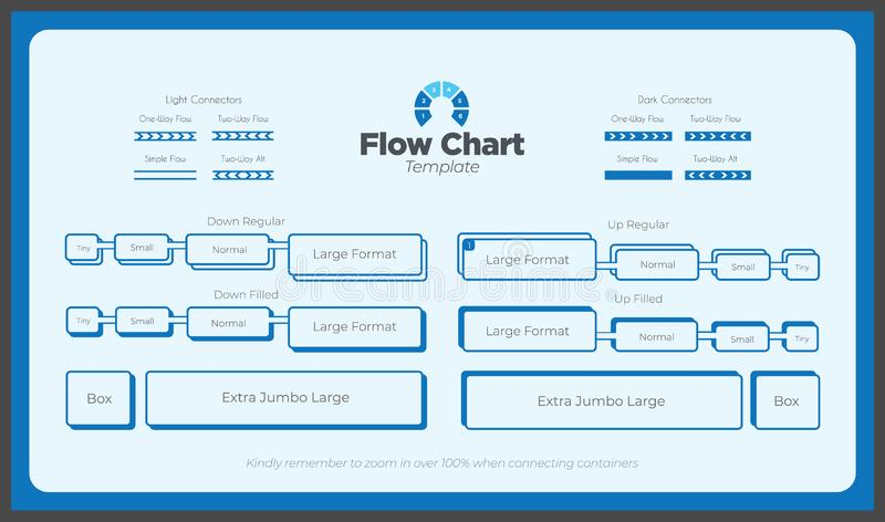 A Blue Modern Flow Chart Kit. Flow charts shouldn`t be boring. Impress your clients and coworkers with this fancy flow chart template vector illustration