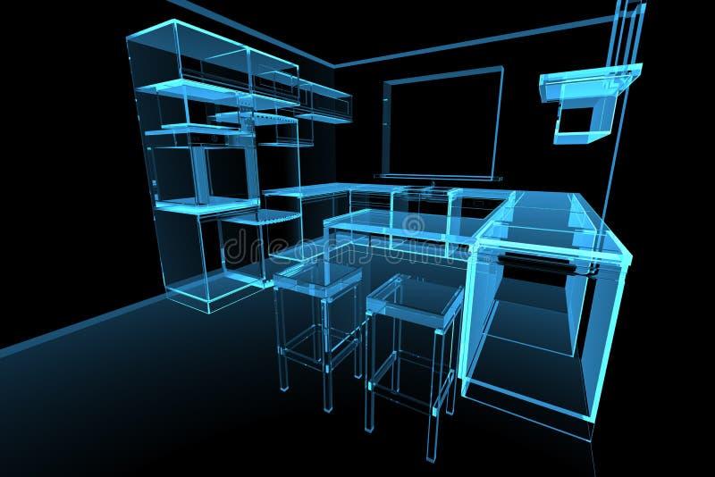 Blue modern futuristic kitchen royalty free illustration