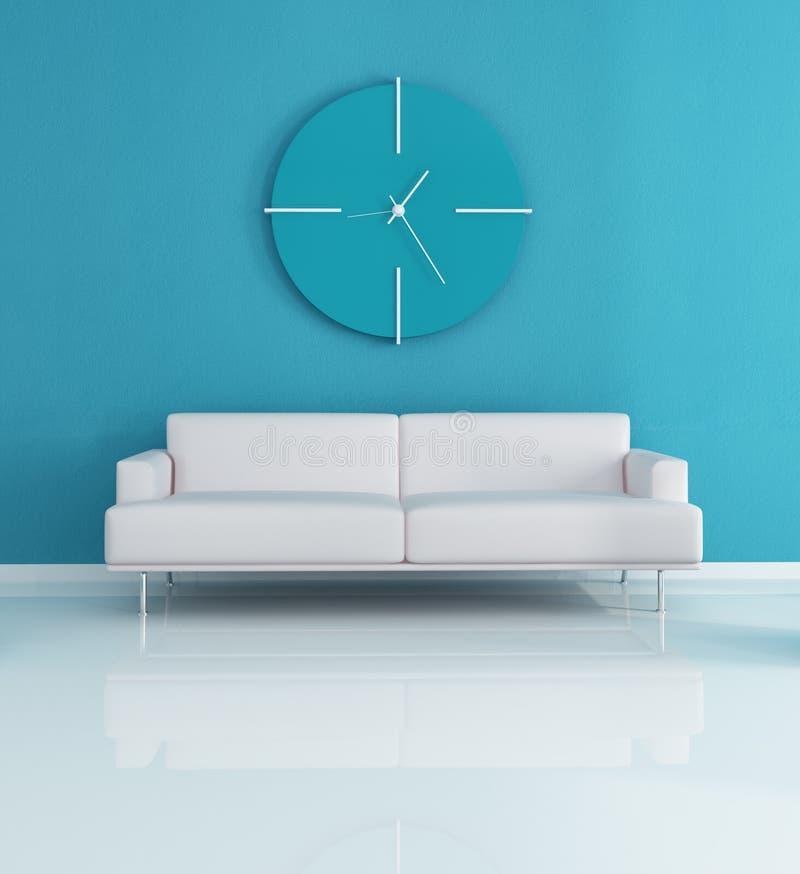 Blue modern interior vector illustration