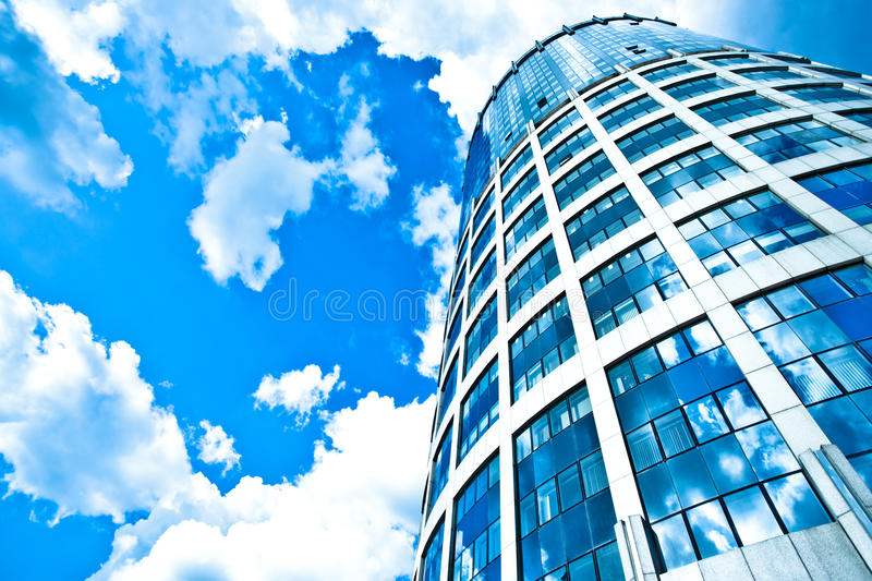 Blue modern office skyscraper royalty free stock photo