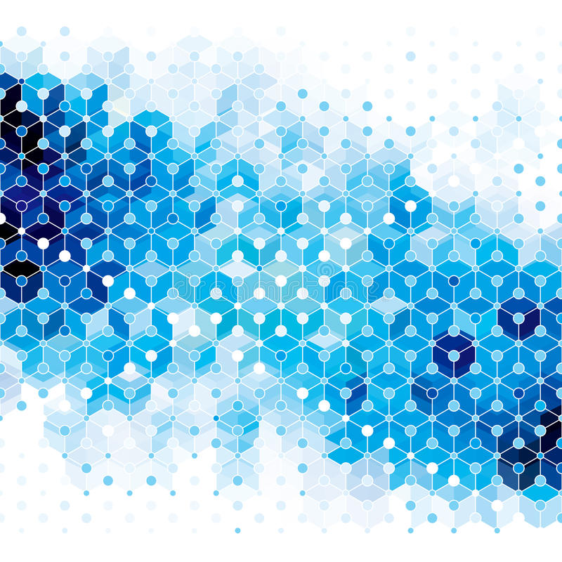 Blue Molecule Abstract Background. stock image