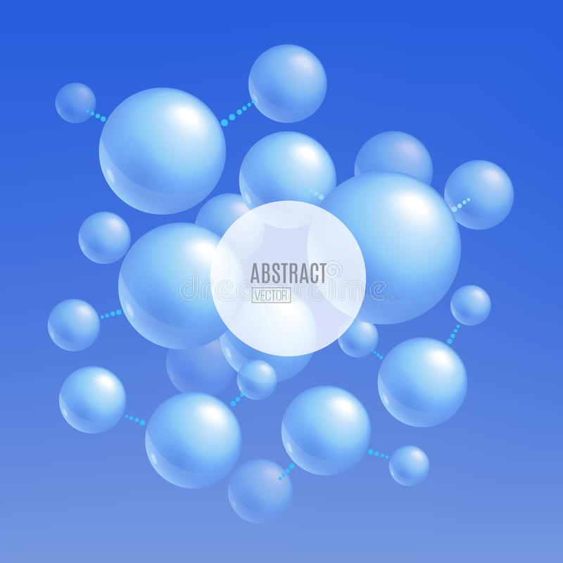 Blue molecule atoms - abstract background for science and technology banner design stock illustration