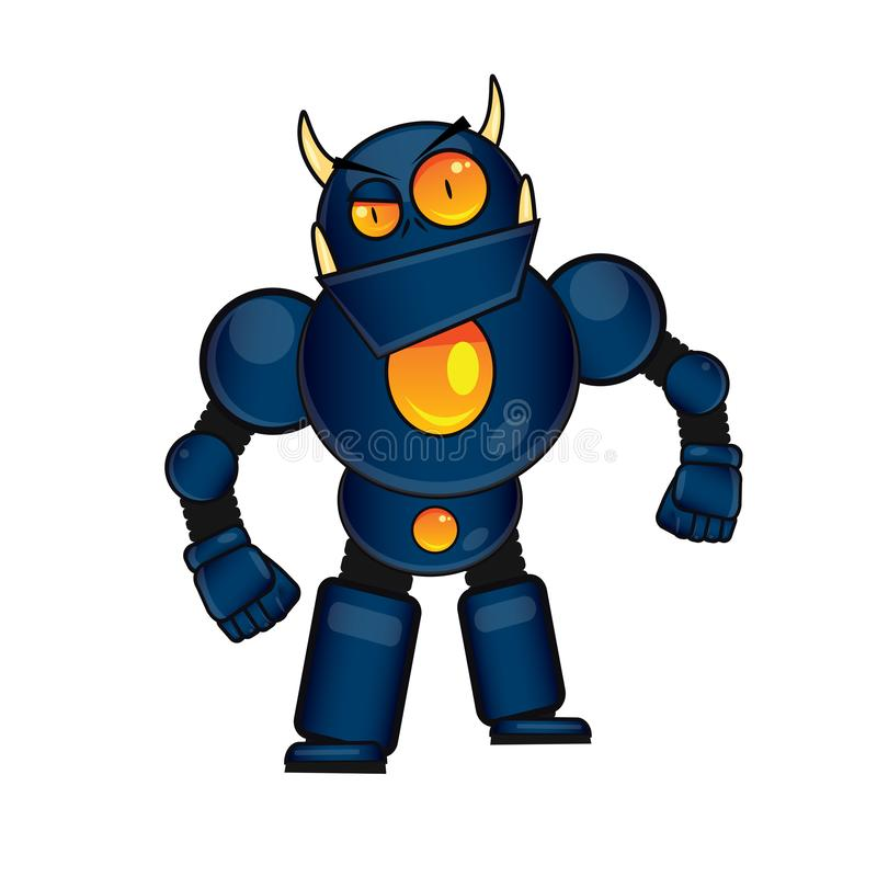 Blue Monster Fighter Robot stock illustration
