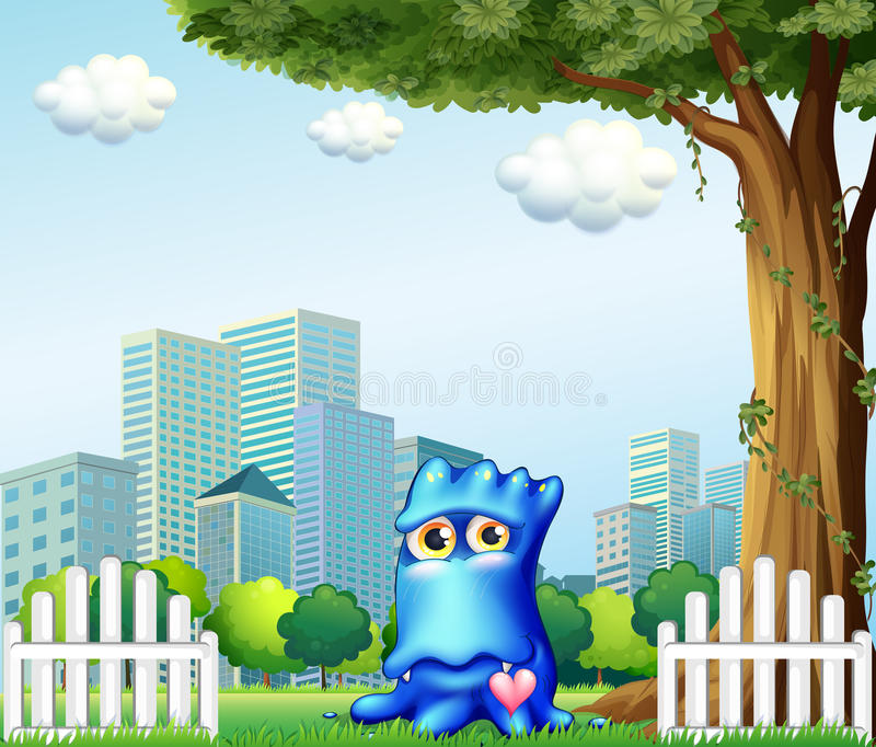 A Blue Monster Standing Near The Fence Across The Tall Buildings Stock Photography