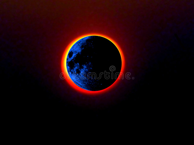 Blue moon being eclipsed stock photo