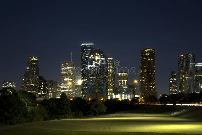Blue moon over downtown Houston evening royalty free stock photo