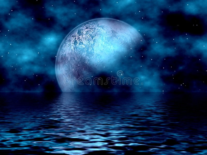Blue Moon & Water. Beautiful Blue Fantasy Background With Moon & Stars Overlooking The Water