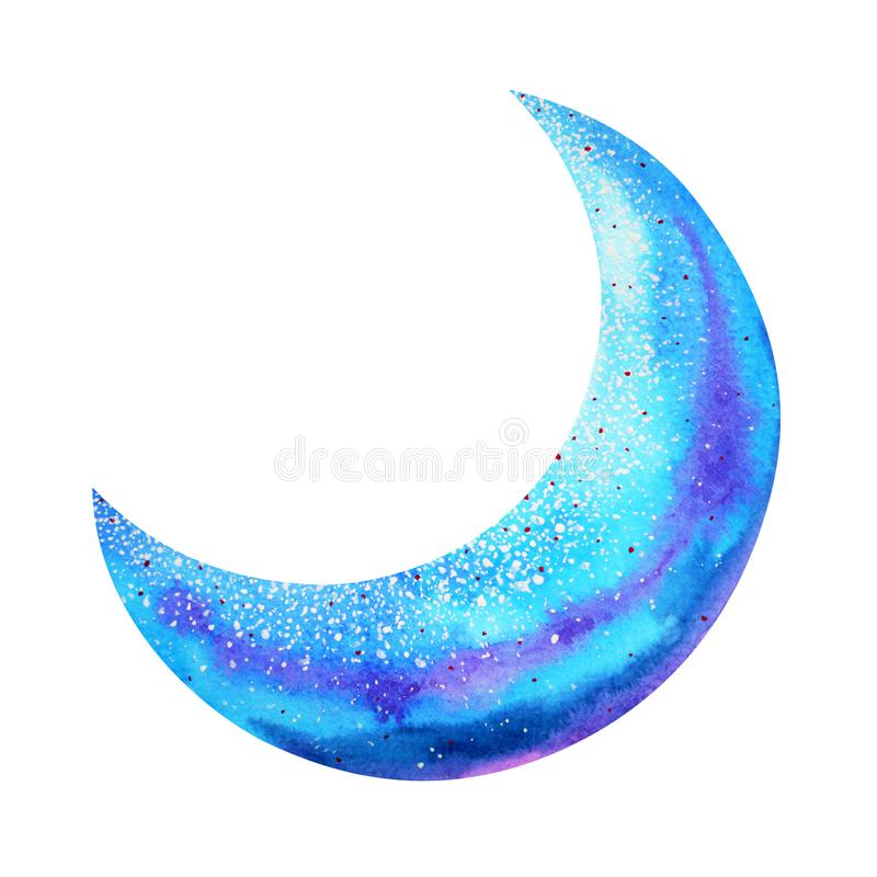 Blue moon watercolor painting hand drawing illustration design royalty free illustration