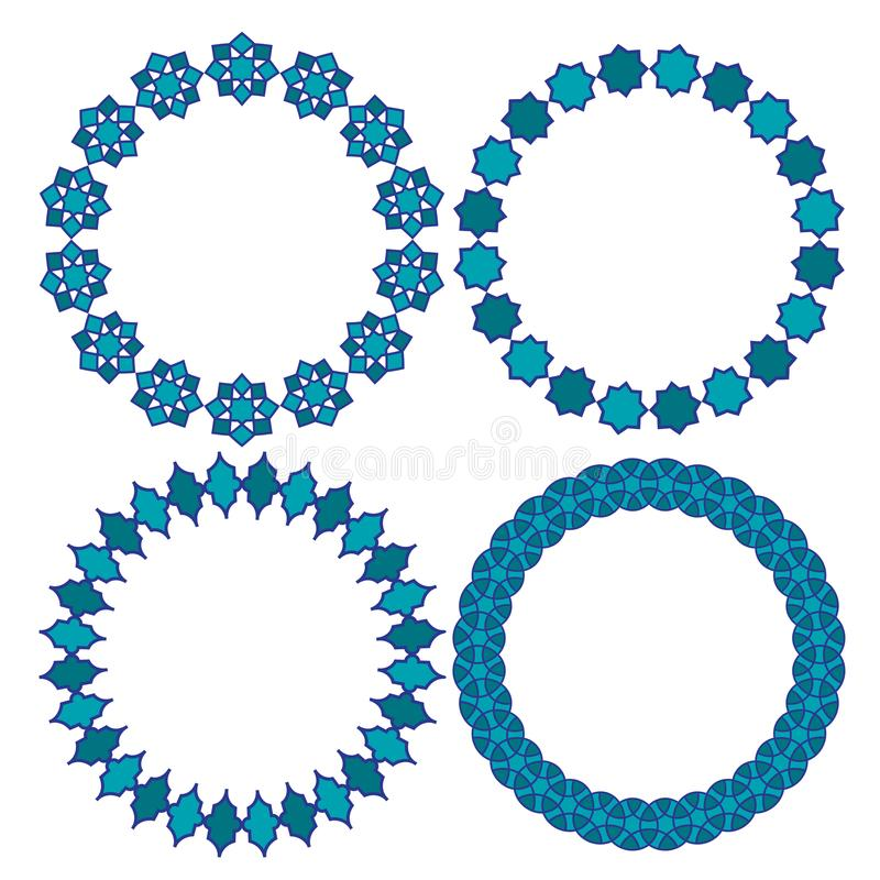 Blue Moroccan Circle Vector Frames Stock Vector - Illustration of ...