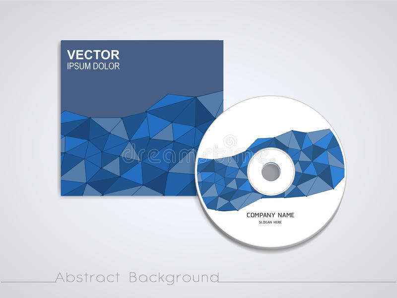 Blue mosaic background design for CD cover. Template stock illustration