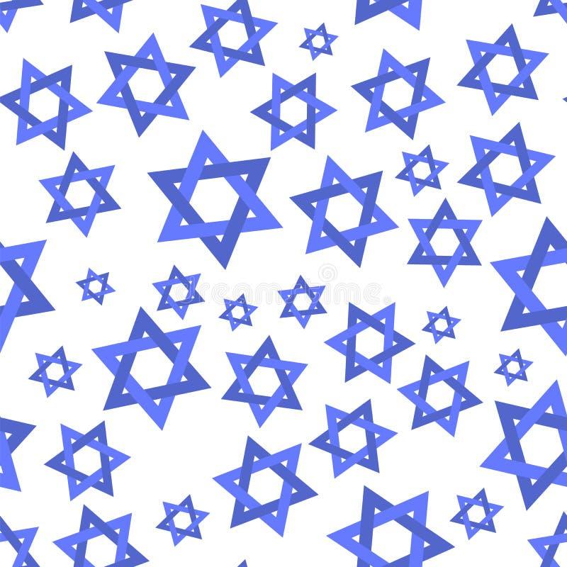 Blue Mosaic Stars of David Seamless Pattern vector illustration