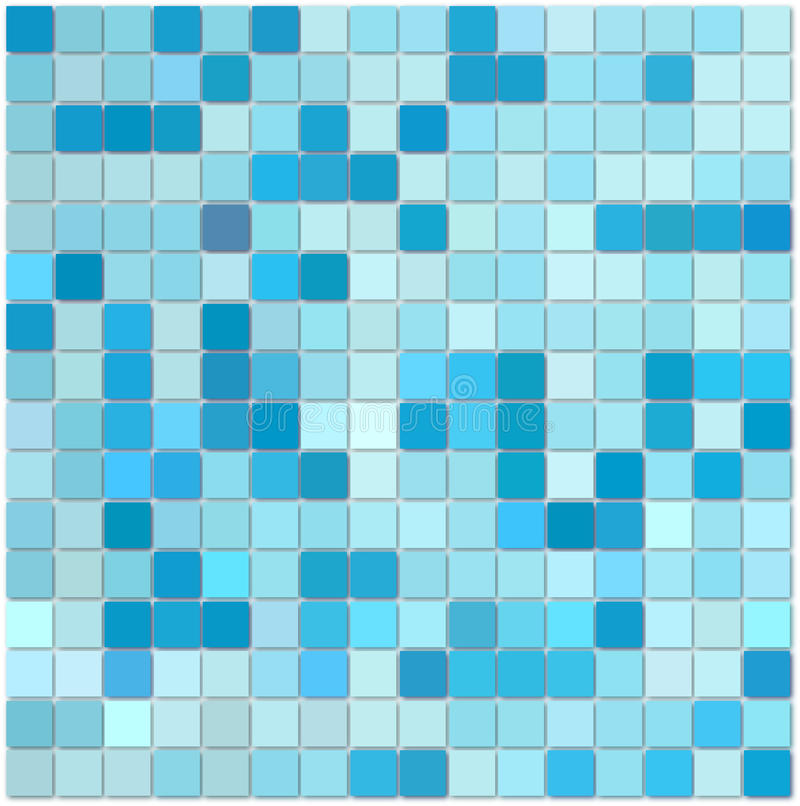 Blue Mosaic Tiles. Background of various shades of blue mosaic tiles for bathroom, kitchen, shower, floor, swimming pool, etc vector illustration