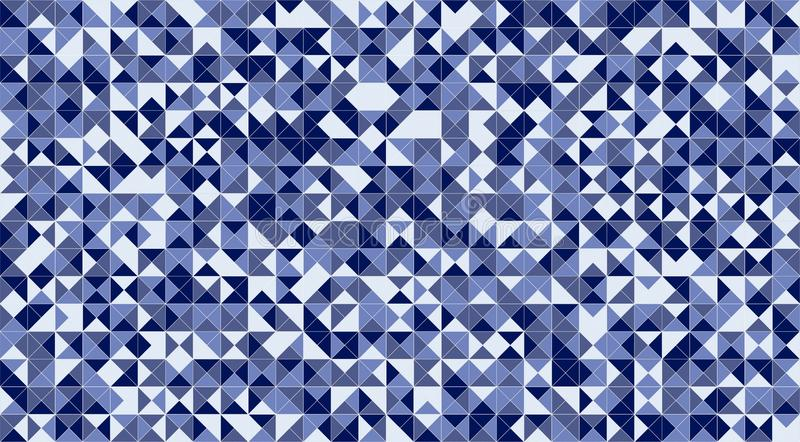 Blue mosaic triangle tiles flooring or wall decoration for wallpaper. Architecture design pattern material texture background, 3d stock illustration