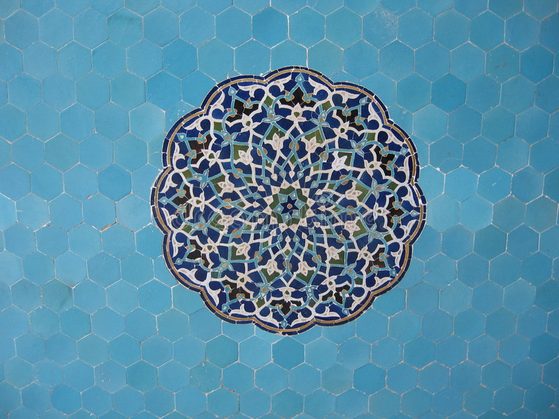 Blue mosaique. Geometrical patern in blue mosque, Isfahan, Iran stock images