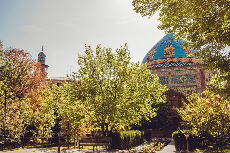 Blue mosque courtyard. Elegant islamic masjid building. Travel to Armenia, Caucasus. Touristic architecture landmark. Sightseeing. In Yerevan. City tour royalty free stock images