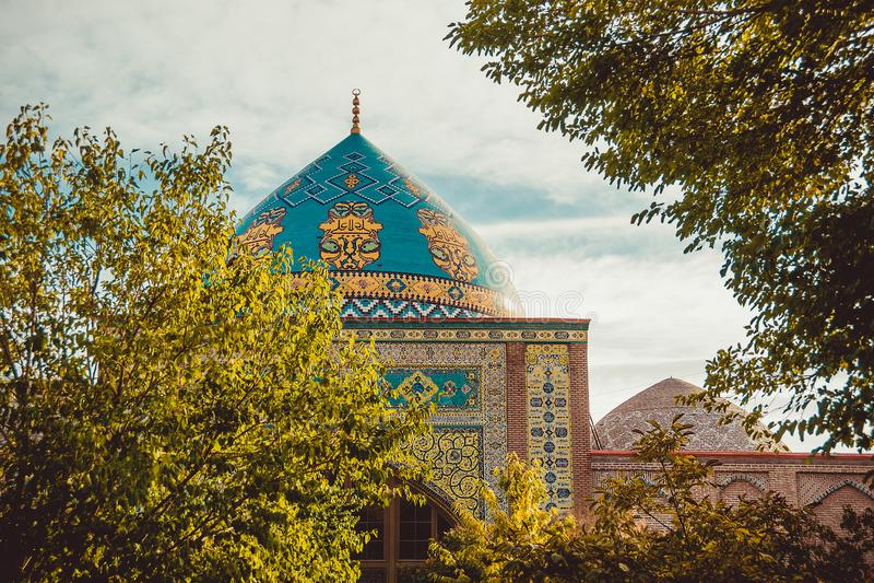 Blue mosque dome. Elegant islamic decorated masjid building. Travel to Armenia, Caucasus. Touristic architecture landmark. Sightse. Eing in Yerevan. City tour stock photos