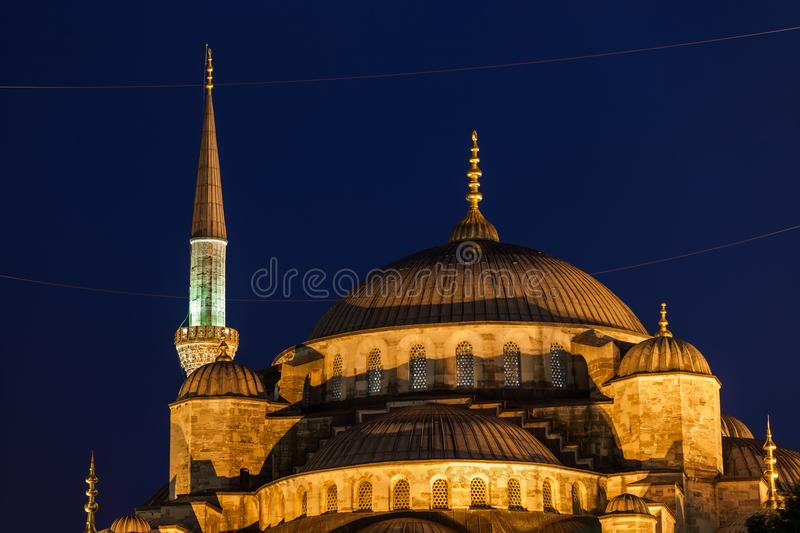 Blue Mosque Domes At Night In Istanbul. Turkey, Istanbul, Blue Mosque Sultan Ahmet Camii domes at night, city landmark from 1616 royalty free stock images