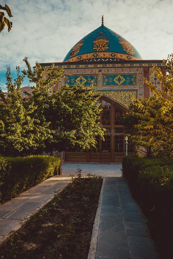 Blue mosque. Elegant islamic masjid building. Travel to Armenia, Caucasus. Touristic architecture landmark. Sightseeing Yerevan. C. Ity tour. Tourism industry stock photo