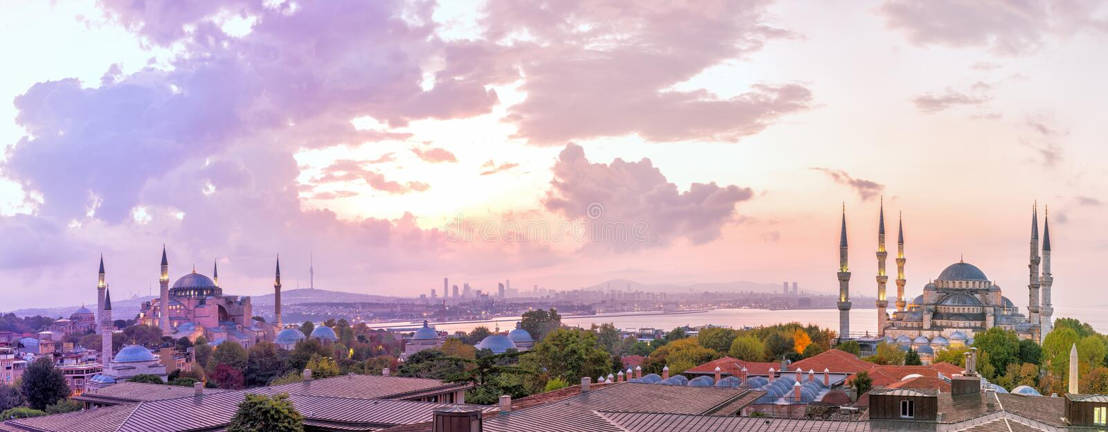 Blue Mosque and Hagia Sophia in the Istanbul panorama stock images