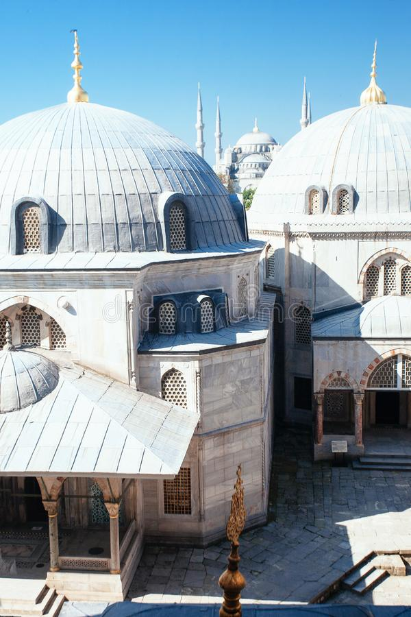 Blue Mosque from the Hagia Sophia, Istanbul stock image