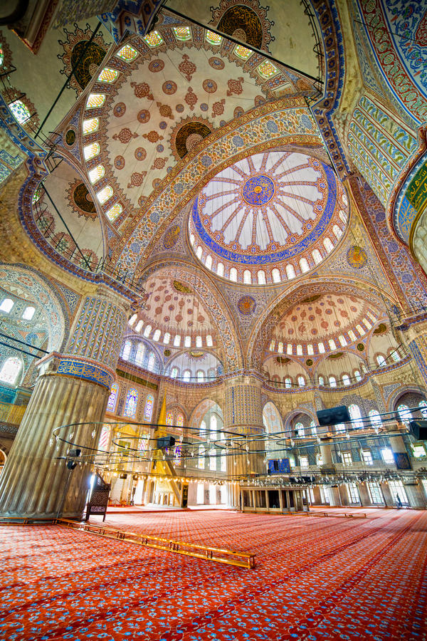 Blue Mosque Interior. Blue Mosque ( Turkish: Sultan Ahmet Cami) interior Ottoman architecture in Istanbul, Turkey stock photo