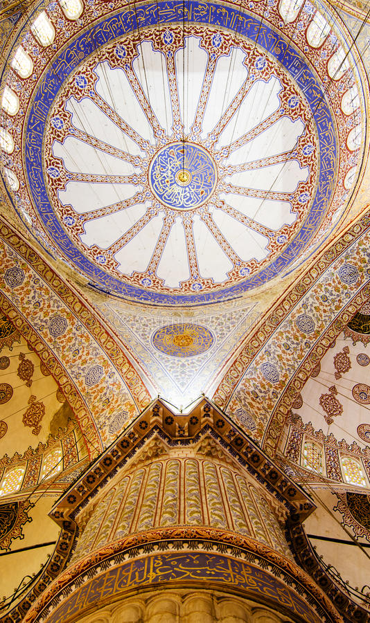 Blue mosque interior. Pier and main dome of the blue mosque, istanbul royalty free stock photo