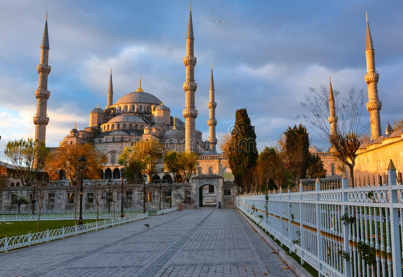 Blue Mosque, Istambul into sunrise lights royalty free stock photo