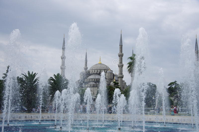 Blue Mosque in Istanbul. Beautiful fountain with the Blue Mosque in Istanbul royalty free stock image