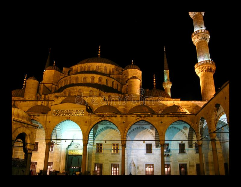 Blue Mosque in Istanbul. Night scenes royalty free stock photo