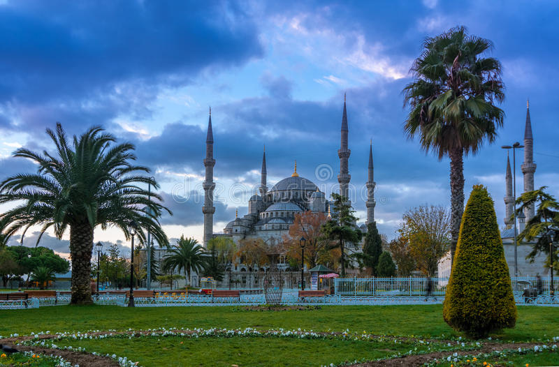 Blue Mosque, Istanbul into sunrise lights royalty free stock photos