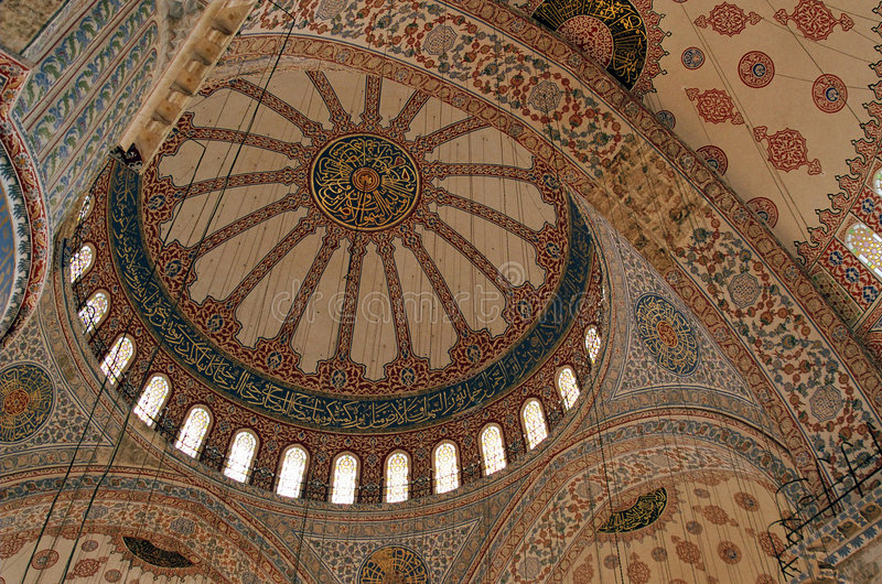 The Blue Mosque, Istanbul, Turkey. The ceiling of the Blue Mosque (Sultanahmet camii), the biggest and more famous mosque in Istanbul, Turkey stock photos