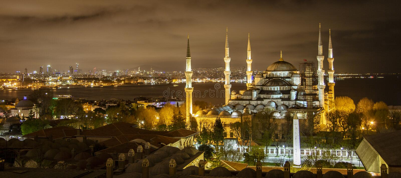 Blue Mosque in Istanbul at night. Blue Mosque in Istanbul, Turkey at night stock photo