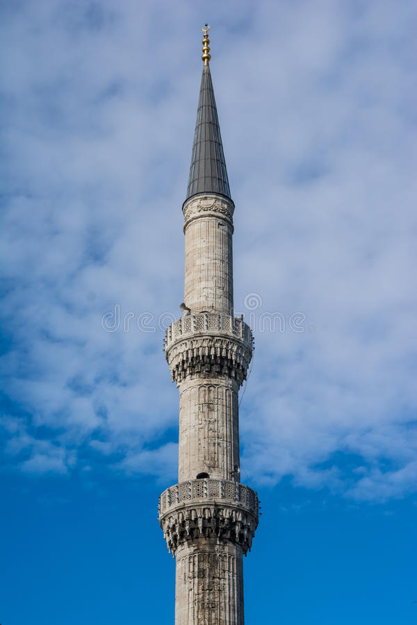 Blue Mosque minaret, Istanbul, Turkey royalty free stock images