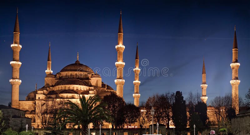 The Blue Mosque at Night. In Istanbul Turkey stock photo