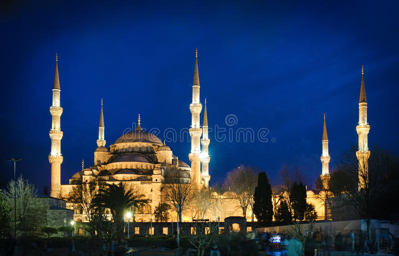 Download Blue Mosque at night stock image. Image of attraction - 24422569