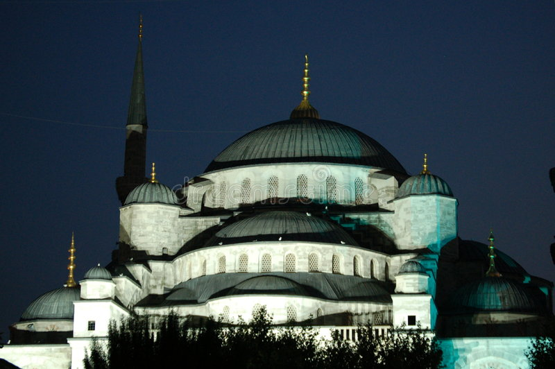Blue Mosque by night. Istanbul´s famous Blue Mosque brightly lit by night stock photography