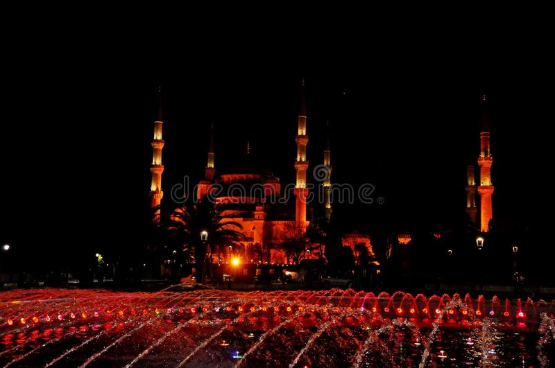 Download Blue Mosque at night stock image. Image of evening, medieval - 39513047
