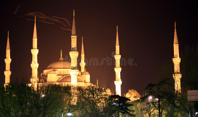 Blue Mosque at night, istanbul. A view of Blue Mosque at night, istanbul, turkey. It's a historical and popular mosque royalty free stock images