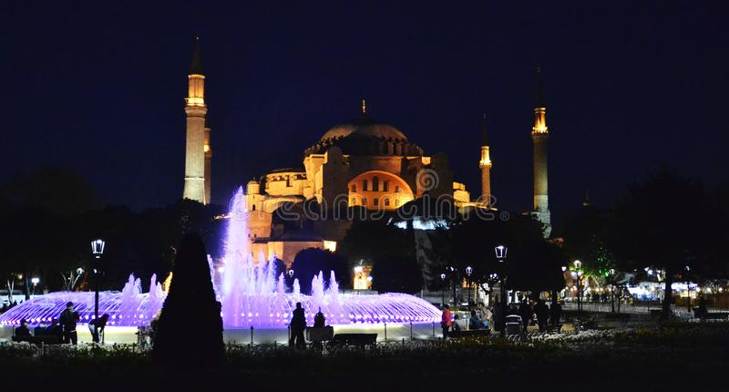 Blue Mosque by night, Istanbul, Turkey stock images