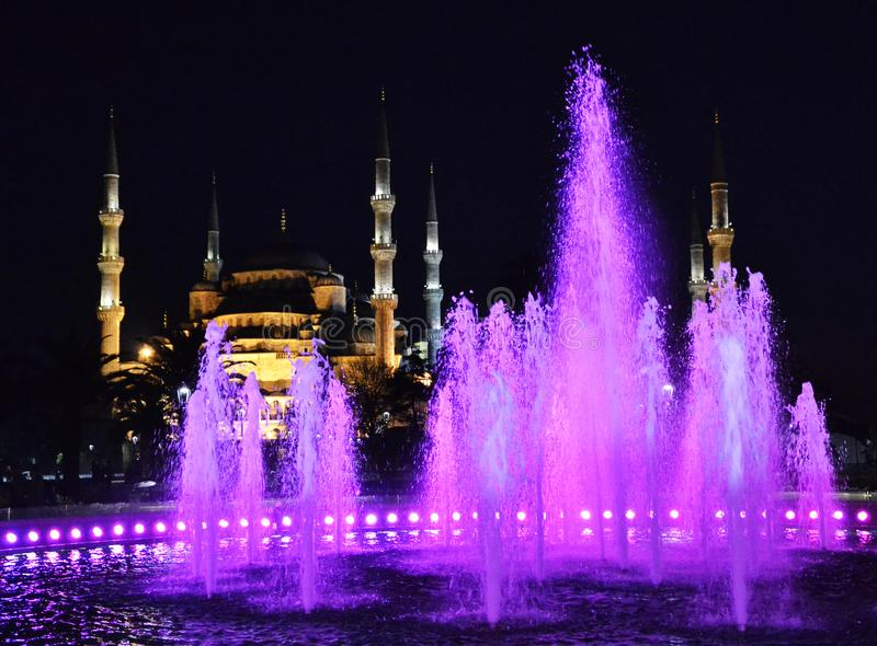 Blue Mosque by night, Istanbul, Turkey stock image